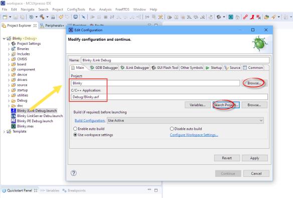 Changed Debugger Main Configuration