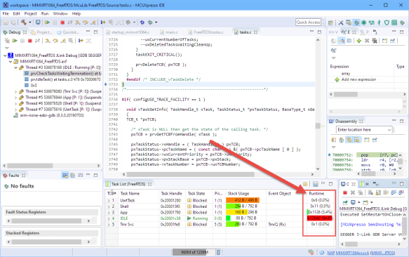 Runtime Information in MCUXpresso IDE