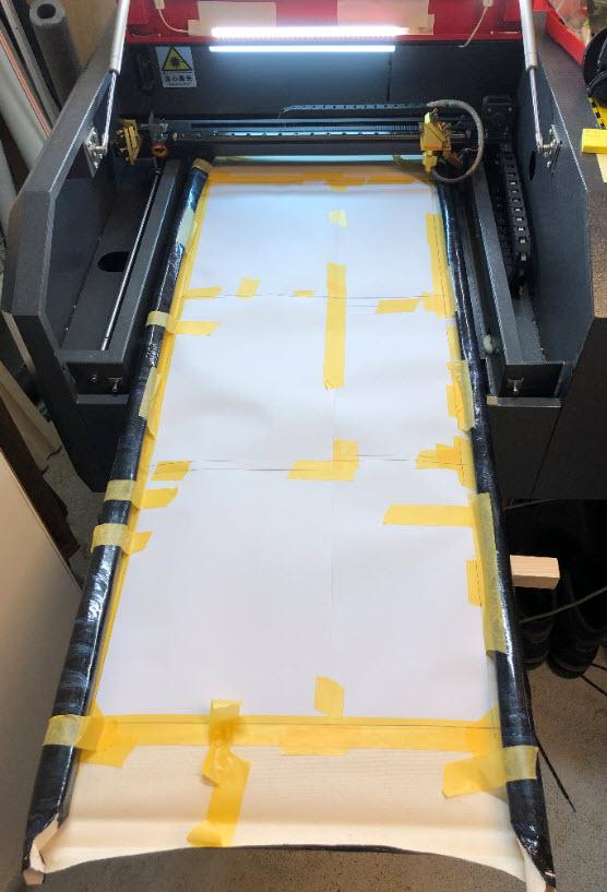 Canvas in laser cutter