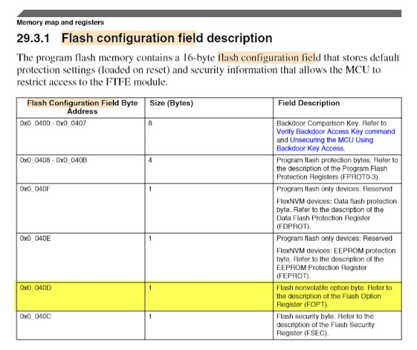 FOPT in Flash Configuration Area
