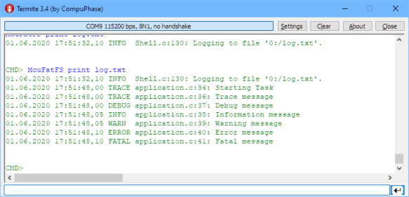 Logging to Embedded File System