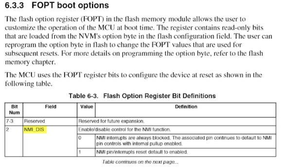 NMI_DIS in the FOPT Register