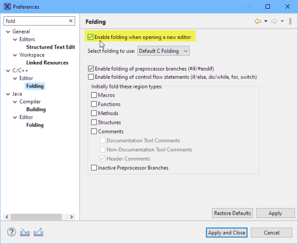 Enabled Folding in the settings
