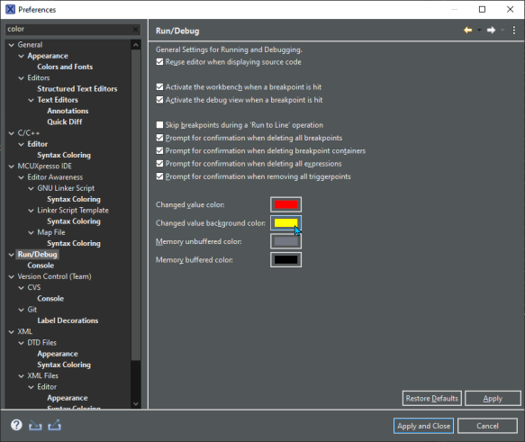 register change color setting
