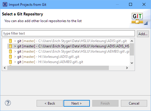 Select Git Repository