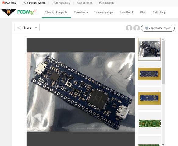 tinyK22 on PCBWay