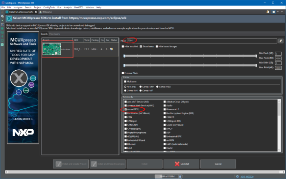 Azure RTOS SDK download with MCUXpresso IDE