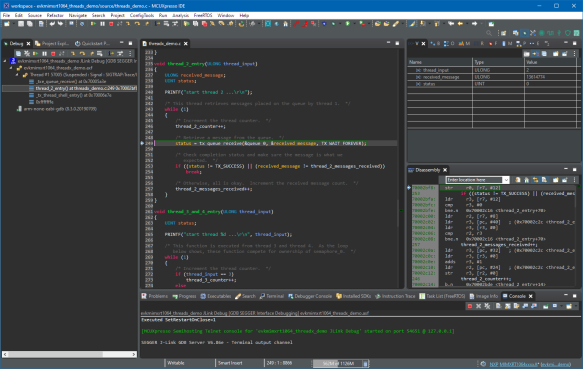 Debugging with ThreadX in MCUXpresso IDE