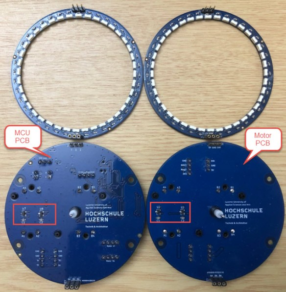 Clock PCBs (Front) with hall sensors