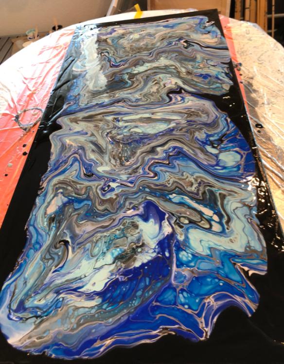 finished acrylic pouring