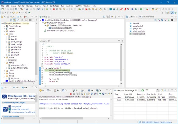 Debugging fresh GitHub SDK Project with MCUXpresso IDE