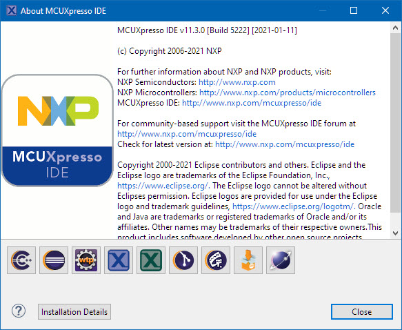MCUXpresso IDE v11.3.0 (Build 5222)