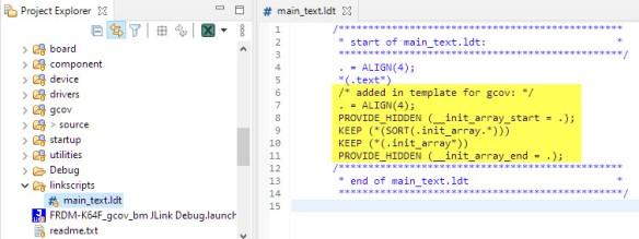 linker script entry for gcov