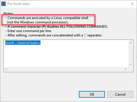 Build Step Dialog in MCUXpresso IDE